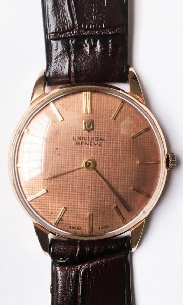 fff0a140aaa Relógio Universal de ouro rosê 18 k. Belo mostrador na cor salmão (com  marcas