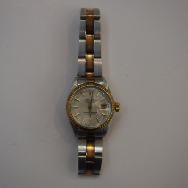 06595319c45 1 Relógio Rolex Datejust em aço e ouro amarelo Cx 26 mm