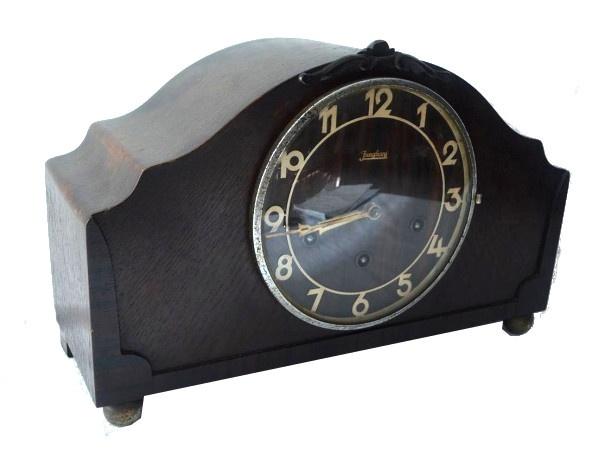 fdff81253b6 Antigo relógio carrilhão de mesa da marca  JUNGLES. Não foi testado. Sem  garantia. Vendido no estado. Med.  23 x 41 x 15.