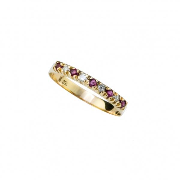 f8dbfc5ee05a5 Anel  Estilo Meio Aliança  em Ouro Amarelo 18K (Inscrição 750) com  Diamantes e Pedras Rubelitas . Medida  aprox. 17,5 Aro. Peso Total  aprox.