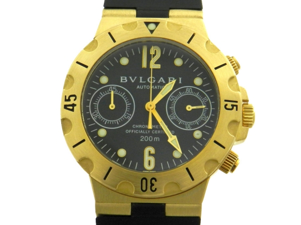 0f3ff30b5fa Relógio Bulgari Scuba Cronógrafo - Caixa em ouro 18k e pulseira em borracha  - Tamanho da caixa 38mm - Funções  Horas