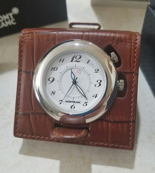 c90beba7d69 MONT BLANC - Impecável relógio de Bolso em metal espessurado a prata .