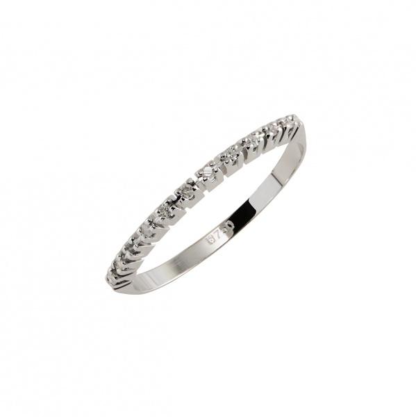 6d66d33062b4f Anel  Estilo Meia Aliança  em Ouro Branco 18K (Inscrição 750) com Diamantes  (Aprox. 0