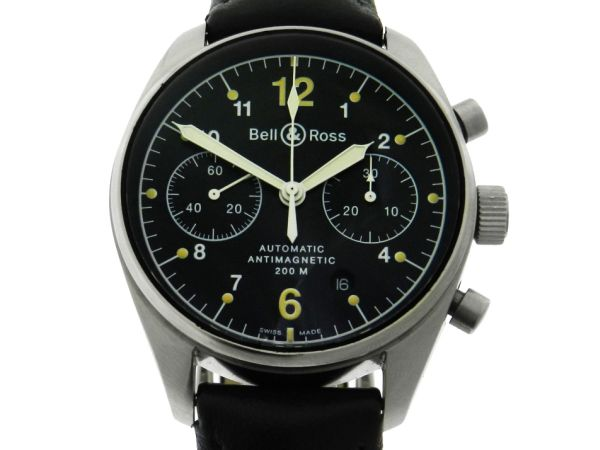 95015e581c8 Relógio Bell   Ross Vintage 126 Cronógrafo - Caixa em aço - Pulseira em  couro - Tamanho da caixa 39.5mm - Funções  Horas