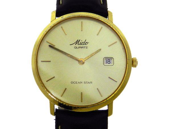 19dd2b342fd Relógio Mido Ocean Star Aquadura - Caixa em plaque de ouro - Pulseira em  couro -