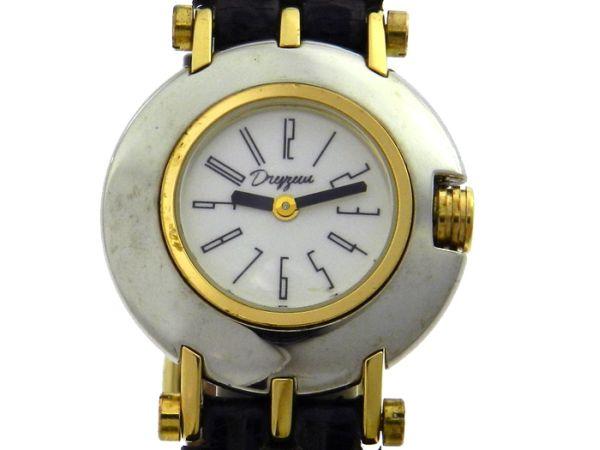ab9422b969e Relógio Dryzun - Caixa em aço e ouro - Pulseira em couro - Tamanho 27mm -