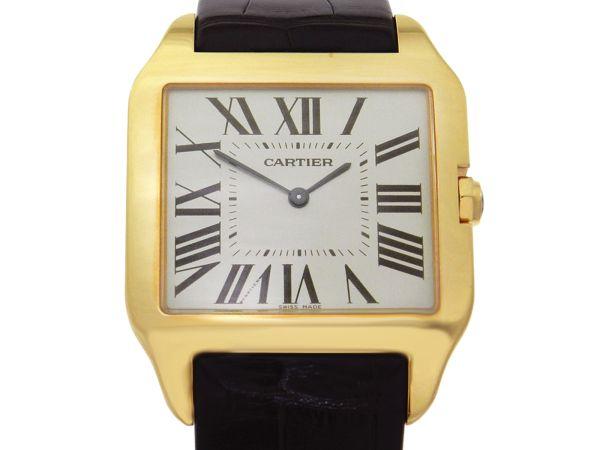 ffffcbc0904 Relógio Cartier Santos Dumont - Caixa em ouro rose 18k e pulseira em couro  - Tamanho da caixa  44