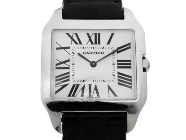 1bf80375bed Relógio Cartier Santos Dumont - Caixa em ouro branco 18k e pulseira em couro  - Tamanho da caixa  44