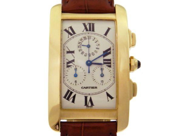 0c03d77b37c Relógio Cartier Tank Americano Chronograph - Caixa em ouro amarelo 18k -  Pulseira em couro - Tamanho da caixa 26mm x 36mm (Sem contar garras ou .