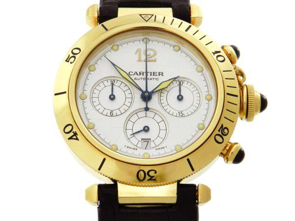 fda4a39c07e Relógio Cartier Pasha Chronograph - Caixa em ouro amarelo 18k - Pulseira em  .