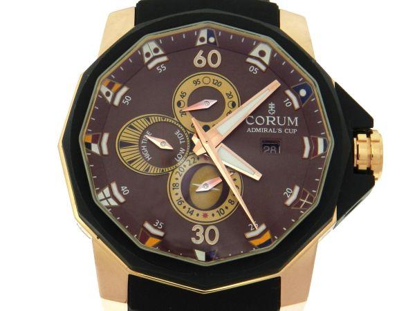 eb82af51876 Relógio Corum Admiral s Cup Tides Marres - Caixa em ouro rosa 18k 750 -  Pulseira em borracha - Tamanho da caixa  47mm - Funções  Horas