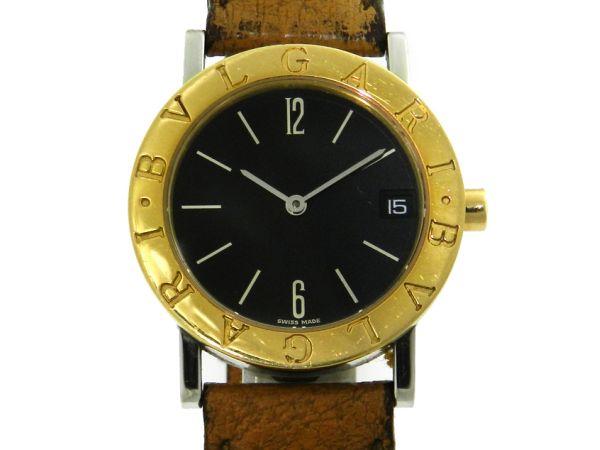 937c18414aa Relógio Bulgari Bvlgari - Caixa em aço com detalhe em plaque de ouro e  pulseira em couro - Tamanho da caixa 30mm - Funções  Horas e Minutos - .