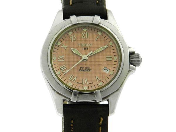 d022b18ad78 Relógio Tissot PR100 - Caixa em aço e pulseira em couro - Tamanho da caixa  28mm - Funções  Horas