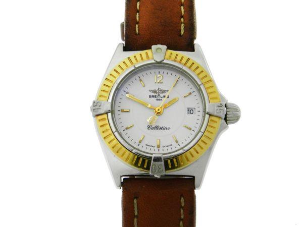79f5541867e Relógio Breitling Callistino - Caixa em aço com aro em ouro - Pulseira em  couro - Tamanho da caixa 27mm - Funções  Horas