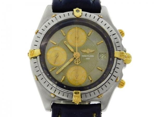 4782443377c Relógio Breitling Chronomat - Caixa em aço e ouro pulseira em couro -  Tamanho da caixa 40mm - Funções  Horas