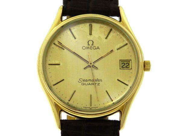 b244dd377ff Relógio Omega Seamaster Classic - Caixa em plaque de ouro - Pulseira em  couro - Tamanho da caixa  33.5mm - Funções  Horas