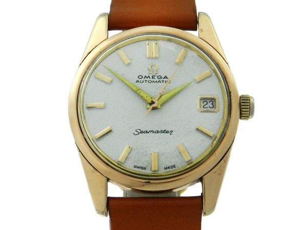 3ef63491d39 Relógio Omega Seamaster - Caixa em aço e plaque de ouro e pulseira em couro  - Tamanho da caixa 33mm - Funções  Horas