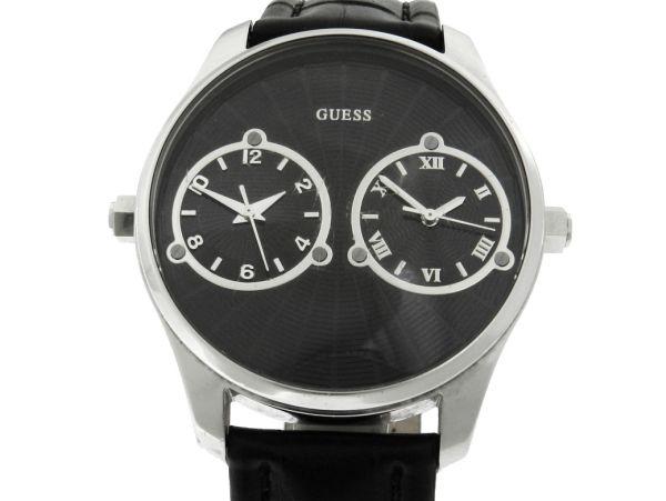 19315f586f5 Relógio Guess Dual Time - Caixa em aço - Pulseira em couro - Tamanho da  caixa 44mm - Funções  Horas