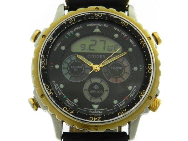 33a55180153 Relógio Citizen Yatching C050 - Caixa em aço e plaque de ouro e pulseira em  couro - Tamanho da caixa 40mm - Funções  Horas