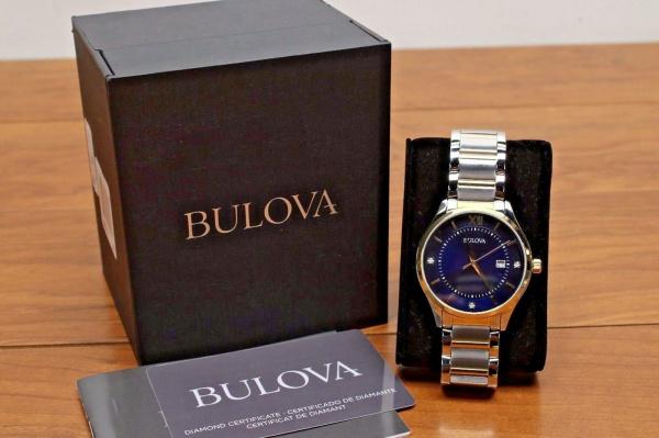 9142a486a3d BULOVA DIAMOND - Impecável relógio de pulso modelo 98 D 143 com belíssima .