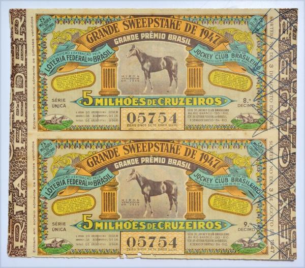 Loteria Federal do Brasil. Grande Sweepstake de 1947. G