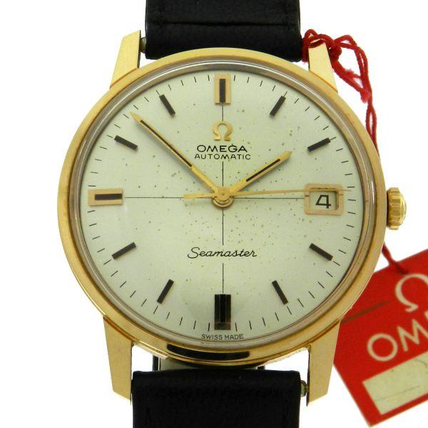 03d249243fa Relógio Omega Seamaster Vintage - Referencia JE 166.002 - Caixa em plaque  de ouro e aço - Pulseira em couro - Tamanho da caixa 34mm - Funções  Horas