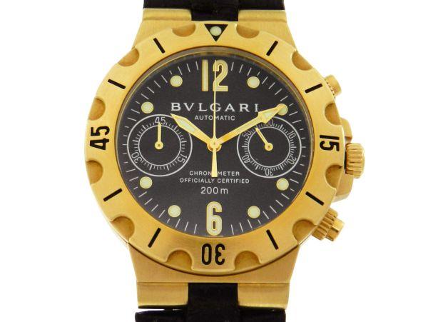 27da32d7d8a Relógio Bulgari Scuba Cronógrafo - Caixa em ouro 18k e pulseira em couro -  Tamanho da caixa 38mm - Funções  Horas
