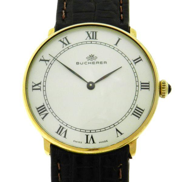 6727f2b3308 Relógio Bucherer Classic - Caixa em aço com plaque de ouro - Pulseira em  couro - Tamanho da caixa 32mm - Funções  Horas e minutos - Movimento a  quartz