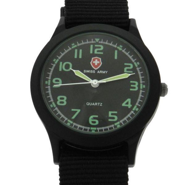 fce3bf34519 Relógio Swiss Army Marca anônima - Caixa em aço com tratamento em PVD preto  e pulseira em nylon - Tamanho da caixa 36mm - Funções  Horas