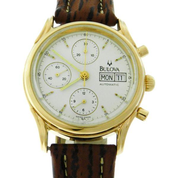 199d4fc5440 Relógio Bulova Chronograph automatic - Caixa aço com plaque de ouro -  Pulseira em couro - Tamanho da caixa 37mm - Funções  Horas
