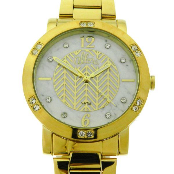 08d0f21e491 Relógio Allora - Caixa e pulseira em aço com plaque de ouro - Tamanho da  caixa  40mm - Funções  Horas