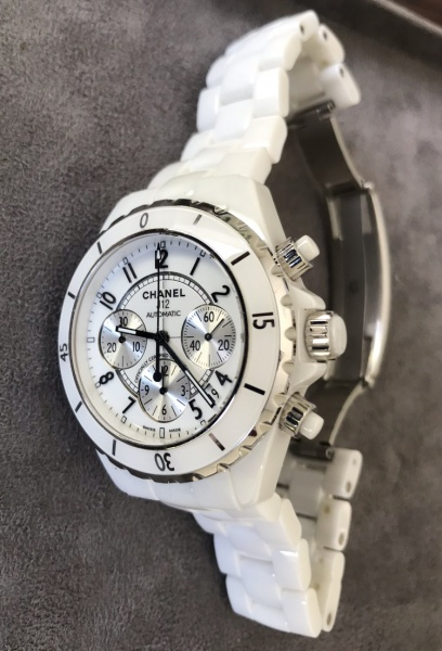4d552eae72f Relógio CHANEL J12 Chronograph - white Ceramic And Steel Automatico caixa .
