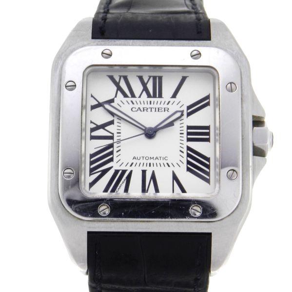 3cbfae7386a Relógio Cartier Santos 100 - Caixa em aço - Pulseira em borracha - Tamanho  da caixa  38mm x 41mm - Funções  Horas