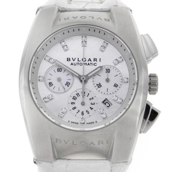 986740bb6b8 Relógio Bulgari Ergon - Caixa em aço - Pulseira em couro - Mostrador em  madre-pérola com diamantes - Tamanho da caixa 35mm x 42mm - Funções  Horas