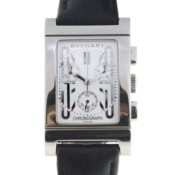 ca50b1cb980 Relógio Bulgari Rettangolo Cronógrafo - Caixa em aço e pulseira em couro -  Tamanho da Caixa  29mm x 39mm - Funções  Horas