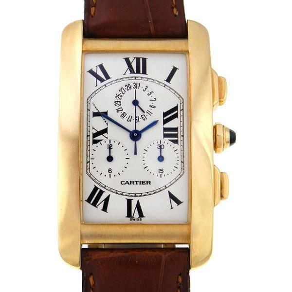 60769eb102f Relógio Cartier Tank Americano Chronograph - Caixa em ouro amarelo 18k -  Pulseira em couro - Tamanho da caixa 26mm x 36mm (Sem contar garras ou  coroa) ...