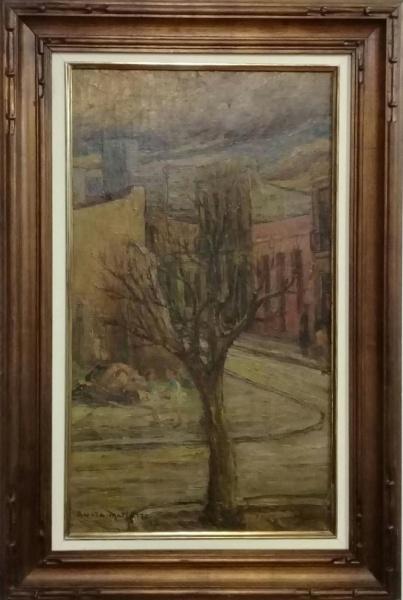 ANITA MALFATTI, óleo sobre madeira, representando cena urbana, medindo 38 x 66 cm.