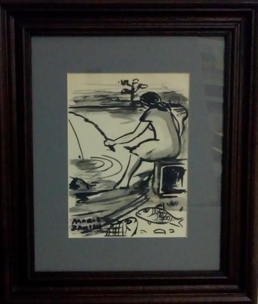 MARIO ZANINI, guache sobre cartão, representando pescador , medindo 20 x 15 cm.