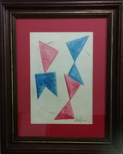 A. VOLPI, têmpera sobre cartão, geométrico, medindo 19 x 28 cm.