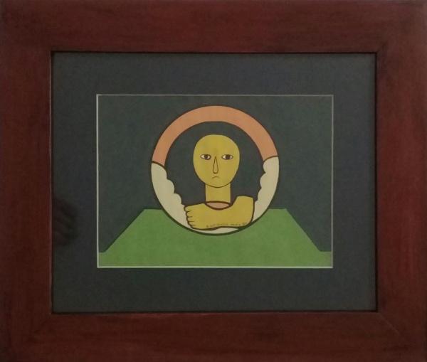 """ANTONIO MAIA, óleo sobre cartão, """"Ex-voto"""", medindo 17 x 23 cm."""