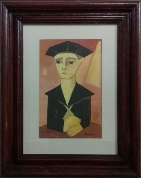 PANCETTI, óleo sobre cartão, representando figura, medindo 16 x 26 cm.