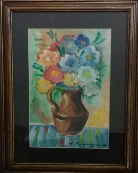 T. KAMINAGAI, guache sobre cartão, representando vaso com flores, medindo 21 x 31 cm.
