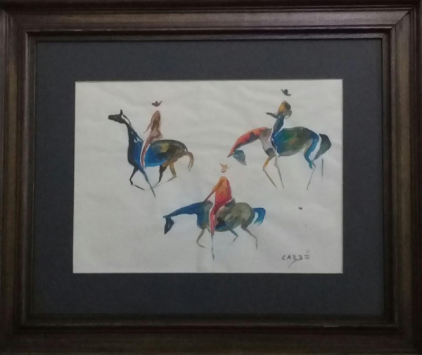 CARYBÉ, guache sobre papel, representando figuras, medindo 29 x 20 cm.