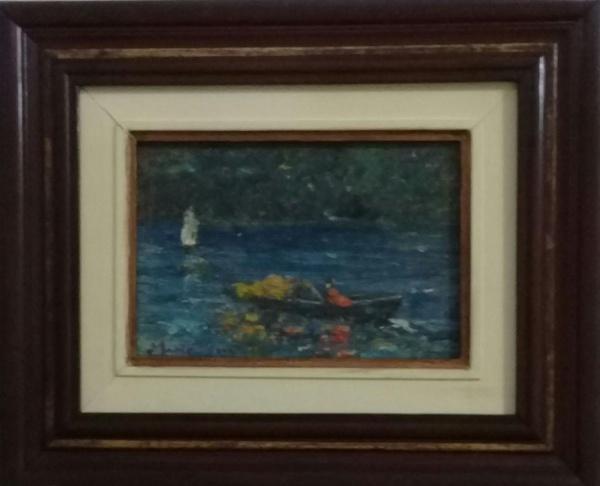 MANOEL SANTIAGO, óleo sobre placa, representando marinha, medindo 25 x 19 cm.