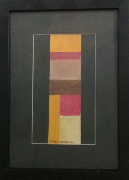 IONE SALDANHA, guache sobre cartão, abstrato, medindo 12 x 22 cm.