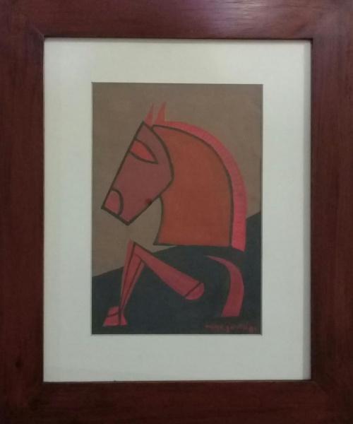 ASSINATURA ILEGÍVEL, guache sobre cartão, representando cavalo, medindo 16 x 24 cm.