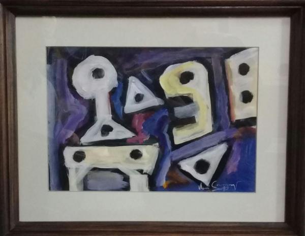 IBERÊ CAMARGO, guache sobre cartão, representando carreteis, medindo 29 x 20 cm.