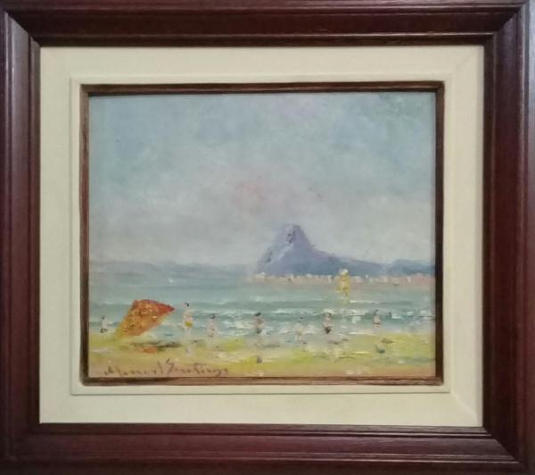 MANOEL SANTIAGO, óleo sobre placa, representando marinha com figuras, medindo 25 x 20 cm.