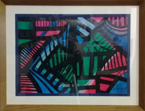 R. BURLE-MARX, guache sobre cartão, abstrato, medindo 60 x 43 cm.