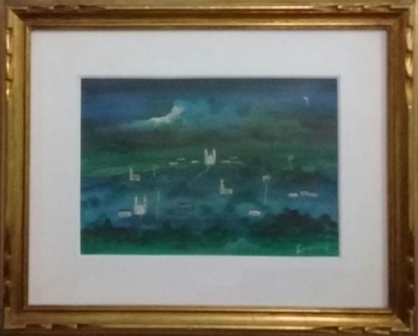 GUIGNARD, guache sobre cartão, representando paisagem, medindo 31 x 22 cm.